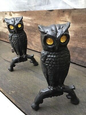 Vintage Owl Shaped Cast Iron Andirons with Amber Glass Eyes