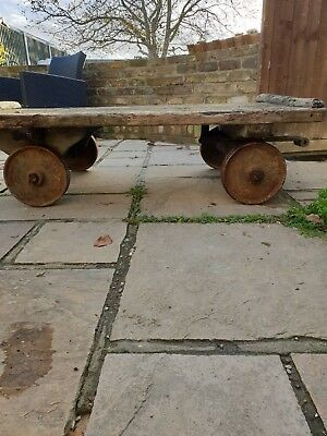 Vintage industrial trolley/cart with cast iron wheels-Coffee Table