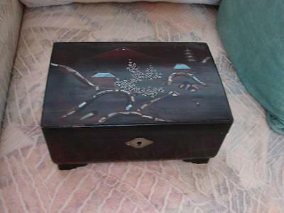 Vintage Oriental Style Wooden Musical Jewelry Box by Mele
