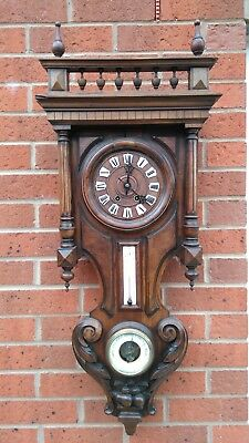 Antique wall clock barometer and thermometer (spare or repair)