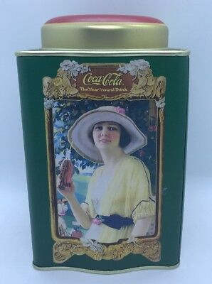 "Vintage Green Coca Cola Tin ""The Year Round Drink"" 6"" Square With Round Top"