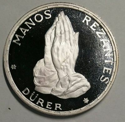 "1970 Proof Equatorial Guinea ""Durer's Praying Hands"" .999 Silver World Coin"
