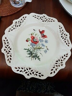 "ROYAL  CREAMWARE HAND-PIERCED  26 cm PLATE  THE FLORAL GIFT "" POPPIES """