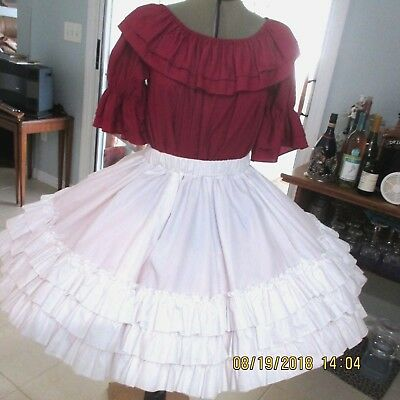 "S&b #14-Square Dance Skirt & Blouse ,underarm 21""waist, 28-"" 40"",19 1/2 "" Long"