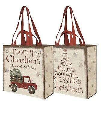 Merry Christmas Bag Red Truck Tree Primitives By Kathy