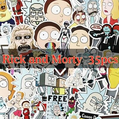 35Pcs/bag American Drama Rick and Morty Funny  For Car Laptop Bicycle
