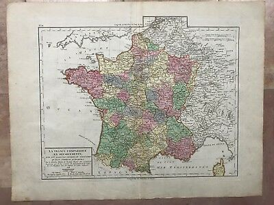 FRANCE IN DEPARTEMENTS 1818 by TARDIEU LARGE ANTIQUE ENGRAVED MAP IN COLORS