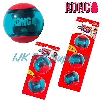 KONG Squeezz Action Dog Puppy Squeaky Ball Throw Fetch Interactive Toy