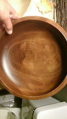 Large Wood Bowl Woodbury's Woodware Compote, Bowl, Shelburne Vermont Handturned