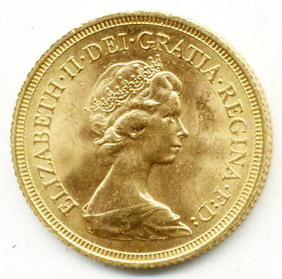 1974 London Queen Elizabeth St.george  Back Full Gold Sovereign  Coin  Unc