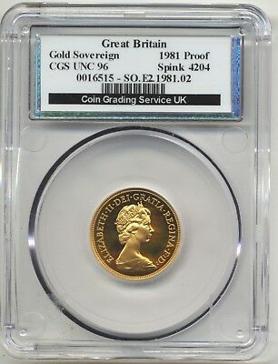 1981 London Queen Elizabeth St.george Back Full Proof Gold Sovereign  Cgs Pr 96