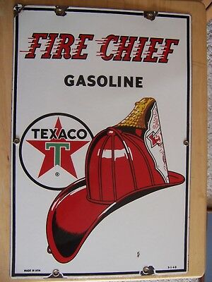 Vintage Original 1963 Texaco Fire Chief Gasoline Pump Plate Porcelain Sign 18X12