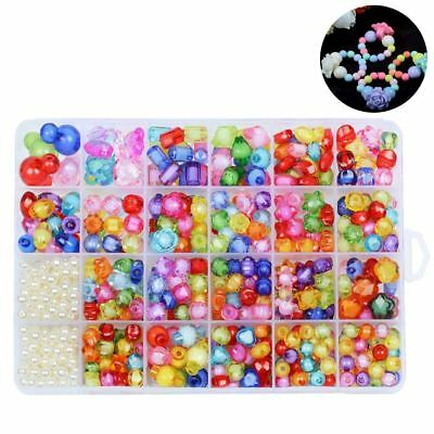 500X DIY Acrylic Beads Toys Set for Kids Jewelry Beads Jewellery Necklace Making