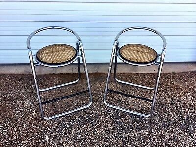 2 Vintage Retro Chrome Bar Stool Italy Mid Century Metal Wicker Kitchen 50's