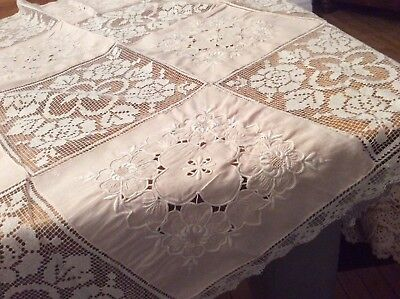 Pretty Vintage Square Table Cloth Table Centre Handmade Lace Embroidered Square