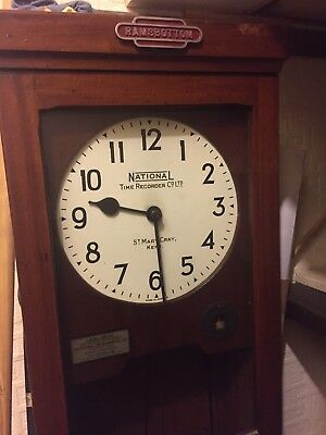 Antique Clocking In Clock National Time Recorder