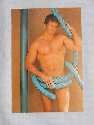 Muscular Male Nude, 1985, Hot bodz, Vintage Post Card, Very Good, Gay Interest