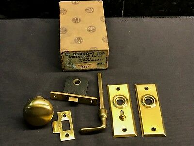 Vtg Safe Shapleigh NOS Screen Door Latch Brass Mortise Lock Handle Hardware Knob