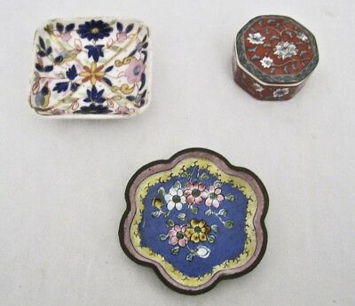 Vintage Lot 3 Miniature Chinese Porcelain Enamel Trinket Dish Box with Lid