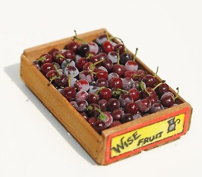 Dollhouse Miniature Artisan Gail Wise Crate Of Cherry With Label 1:12