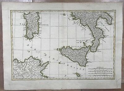 SICILY ITALY MALTA by JANVIER 18e CENTURY LARGE ANTIQUE ENGRAVED MAP IN COLORS