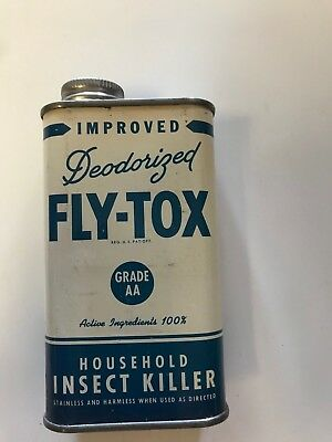 Rare Vintage  NOS Fly Tox Insect Killer Tin One Pint Blue & White FULL !