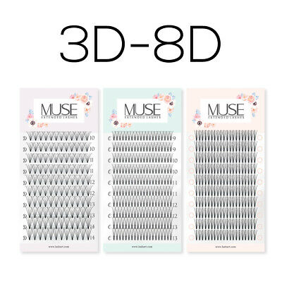 Pre made Russian Volume Fan Lashes 3D - 8D Mink Eyelash Extensions MUSE C Curl