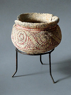 4# Original Ancient Ban Chiang pottery Bowl with Stand From Thailand Cheap LOOK!