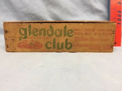 Vintage Glendale Club Wooden Cheese Box By Pauly Cheese Company, Green Bay Wi