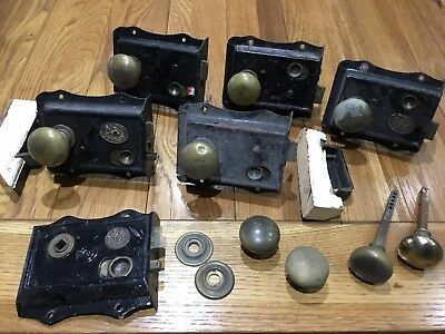Job lot of brass door knobs and locks
