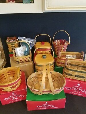 Longaberger  Tree Trimming Lot Of 9 Baskets Look