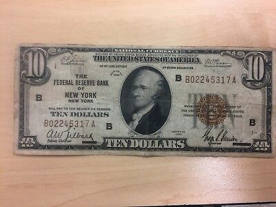 1929 $10 Ten Dollar National Note Bank Of New York Brown Seal