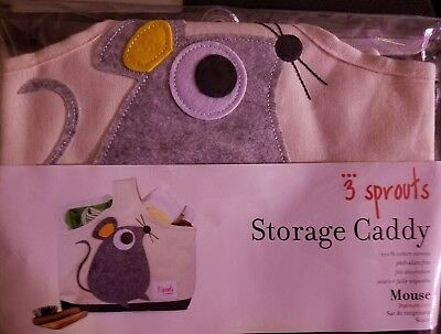 3 Sprouts Storage Tote Bag Caddy - Infant Nursery Toddler Animal - Mouse