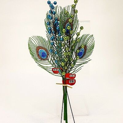 Peacock Green Blue Tail Feather & Glitter Berries Floral Picks Vase Plant Decor