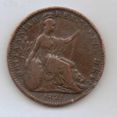 GB - 1 Farthing - George IV (1st issue) 1821 (dot) Copper – 4.5 g – ø 21.5 mm