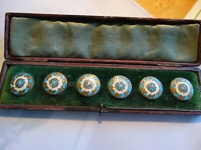6 Antique  French Metal Enamel Round Buttons E. M. Paris Blue with Rose  W/Case