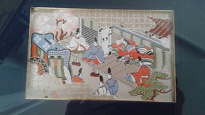 vintage Chinese embroidered picture with gold thread decoration