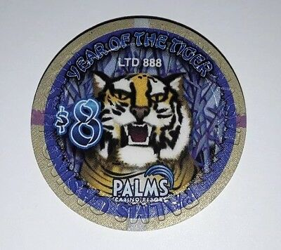 $8,00 Palms Casino, Chip Jeton, Year of the Tiger 2010, Las Vegas, Nevada