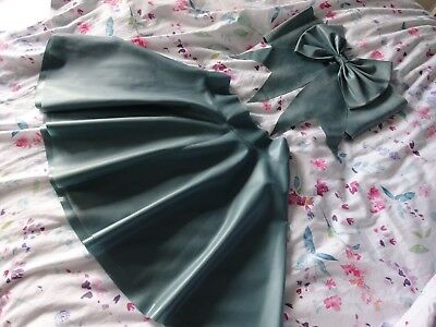 Latex Blue Skirt And Top Outfit Photoshoot, Party , Size Small
