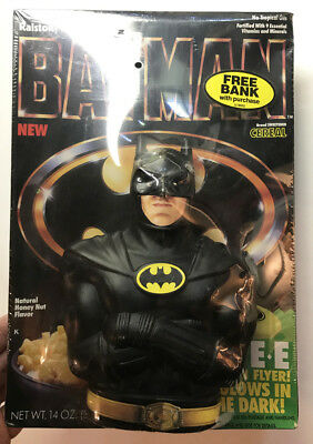 Batman Cereal Full Box with Bank on Pack and Promo - 1989