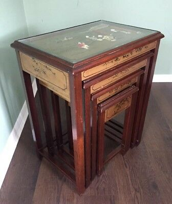 Nest of 4 Vintage Wood Hand Carved Chinese Nest of Tables, Glass Topped Gold