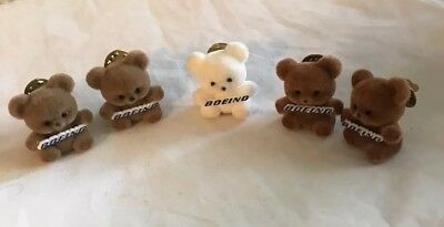 """BOEING COLLECTIBLE PIN WITH 1"""" FLOCKED TEDDY BEAR HOLDING LOGO Boeing Company"""