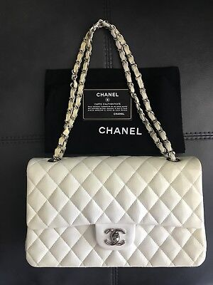 e466a4affb31 Auth Chanel Medium White Patent Leather Silver Hardware Classic Flap Bag CC