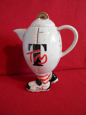 """** Superb Rugby Ball """"give It A Try"""" Large Teapottery Teapot ** ** Ex Con **"""