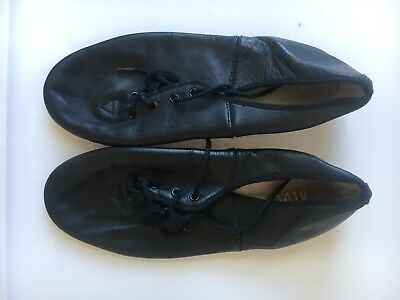 Authentic Bloch Adult Black Leather Lace Up Jazz Shoes Size 7 Used