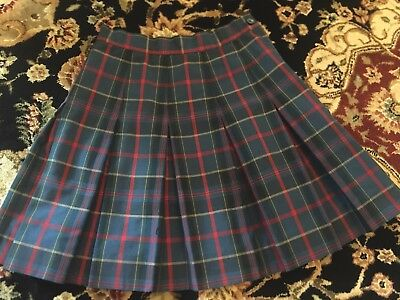 (Size 10) RK Rifle Girls Navy Red Plaid Box-pleated Skirt