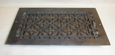 """Cast Iron Heat Grate ~ Patented 1886 ~ Louvered Heat Register ~ 7 3/4"""" x 13 5/8"""""""