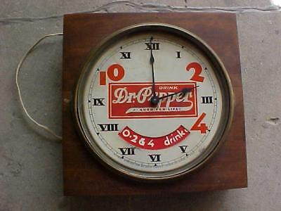 Rare 1920's Dr Pepper Wall Clock, Rotating Drink A Bite To Eat Wheel,  L@@K!!