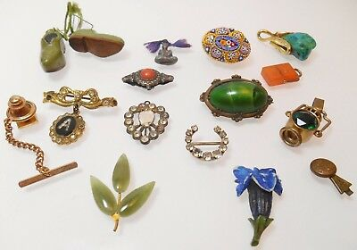 Job Lot Of Antique & Vintage Jewellery Brooch Charm Intaglio Mosaic Buddha Gold