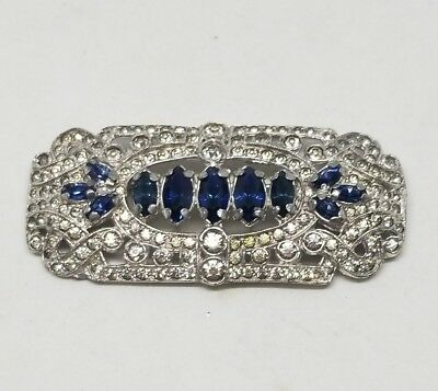Vintage Art Deco High End Designer Blue and Clear Rhinestone Brooch Pot Metal
